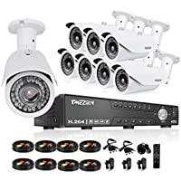 TMEZON HD 1080N 16 Channel AHD Security System with 8x 2.0MP Cameras 130ft Night Vision 2.8-12mm Zoom Lens Outdoor Video Surveillance DVR Kits NO HDD