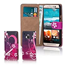 32nd® Design book PU leather wallet case cover for HTC One M9 mobile phone, including screen protector and cleaning cloth - Love Heart