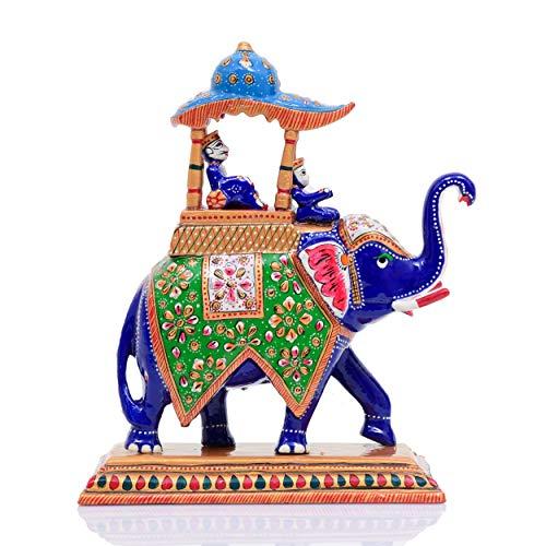 Indus Creation Metal Elephant Hand-Painted Meenakari Ambabari Design Curio