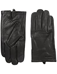 Calvin Klein mens Basic Cuff Point Leather Glove With Touchscreen Technology