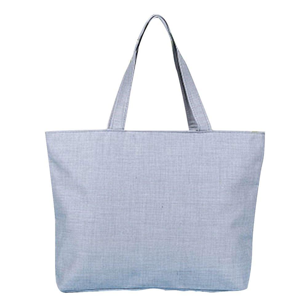 Fablcrew Bolso de Hombro Bolsas de la Compra Reutilizables de Lona 42*32*9cm Blanco