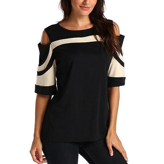 Hffan Frauen Tops Sexy O-Ausschnitt Hemd Button Tasche Bluse T-Shirt Mode  Damen Aus Schulter Frühling Solide Langarm Tops Frauen Casual Bluse Plissee  Tunika ... 239293997a