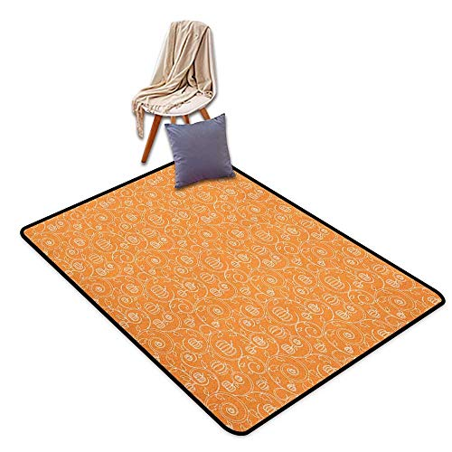 Children's Rugs Playrug Rugs Harvest Pattern with Pumpkin Leaves and Swirls on Orange Backdrop Halloween Inspired Floor Rug Pattern W6'xL7'