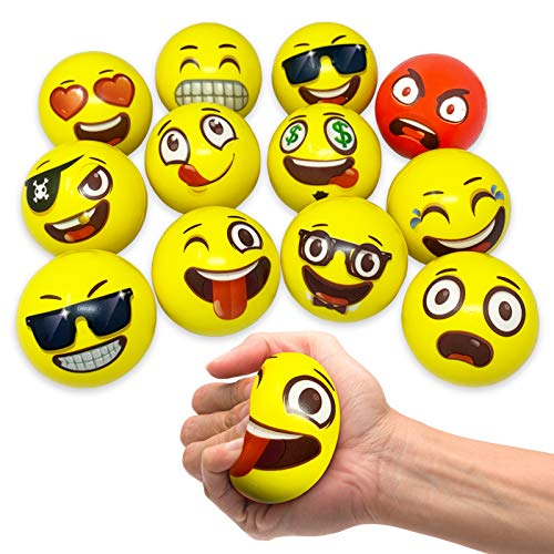 Oji-Emoji Party Pack 12 Emoji Stress Balls, stocking stuffers for kids, Stress Reliever Fidget Party Pack Favor Toy for Kids, Therapy Squeeze Stocking Stuffers, Special Needs, Concentration, Anxiety, Motivation, ADHD, - Stress Reliever Ball