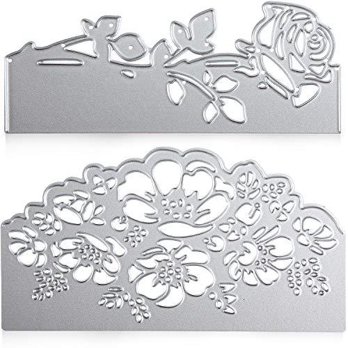 2 Pieces Rose Cutting Die Flower Shape Embossing Dies Carbon Steel Die Cuts Stencils for Scrapbooking Card Making Supplies -
