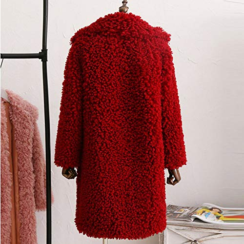 En D'hivermanteau Couleur Manteau Longues À La Amuster Manches Collier Outercoat Rouge Mode Unie Col Fourrure Coton De wf7xqXS