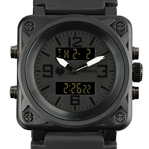 INFANTRY Mens Big Face Dual Display Tactical Military Analog Sport Quartz Wrist Watch Multifunction Black - Face Square Men