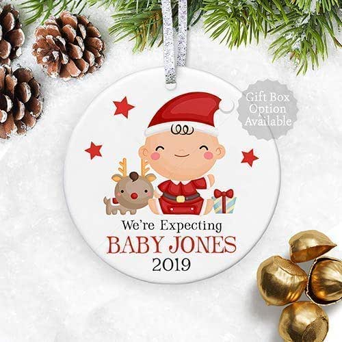 Expecting Christmas Ornaments.We Re Expecting Christmas Ornament 2018 Gender Neutral Pregnancy Announcement Baby Shower Gift For Mom Grandma 3 Flat Circle Ceramic Ornament