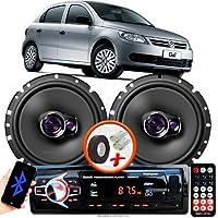 """Alto Falante Pioneer VW GOL G5 Dianteiro Ts-1760br 6"""" 100W RMS 4 Ohms Triaxial Bobina Simples Par + Rádio Com Bluetooth"""