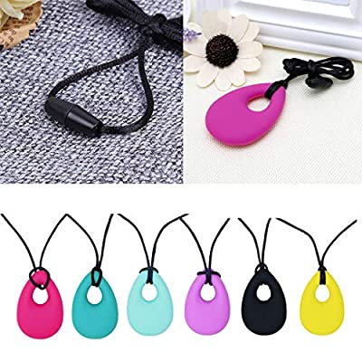 Ladaidra 6 Pack Chewing Necklace Silicone Teether Pendant Kids Teething Toys for Autism: Toys & Games