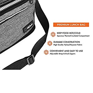 Premium Insulated Lunch Bag with Shoulder Strap by OPUX | Perfect For Kids, Men, Women, Work, School, Office | Soft Leak Proof Liner | Medium Capacity Lunch Box | Easily Fits 6 Cans (Heather Gray)