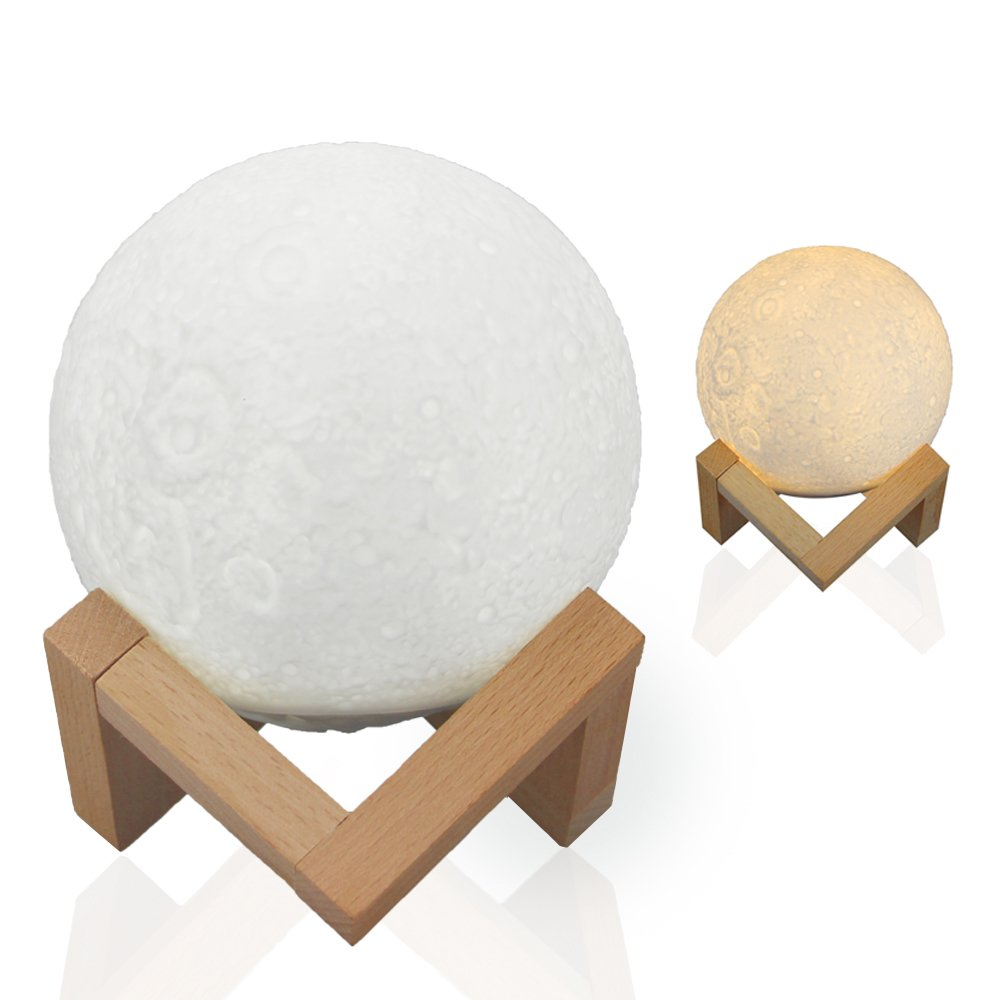 3D Moon Lamp 13cm, Shome 2 Modes LED Table Night Lamp Touch Control/Dimmable USB Charging White/Warm White with Stand