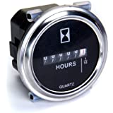 Compteur d'heures 6 à 80 Volts DC - anneau de garniture Rond d'Argent