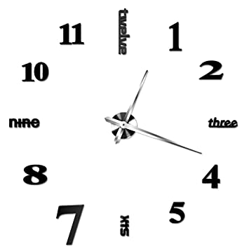 Reloj de pared, hmane 3d grande Inglés letras números de árabe sin marco espejo superficie reloj de pared grande reloj de bricolaje arte relojes casa ...