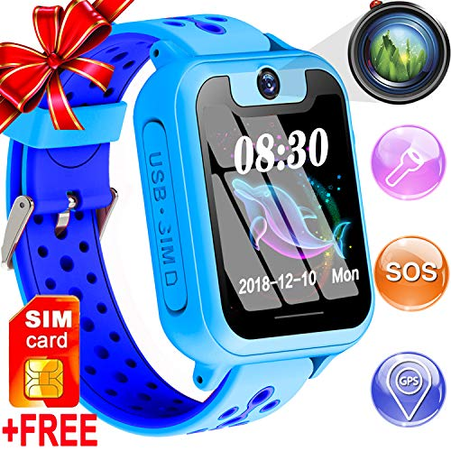 Kids Smart Watch Phone GPS Tracker for 3-12 Year Boy Girl [SIM Card Include] Smartwatch Touch Screen SOS Two Way Call Camera Game Alarm clock Outdoor Sport Cellphone Wristwatch Electronic Learning Toy