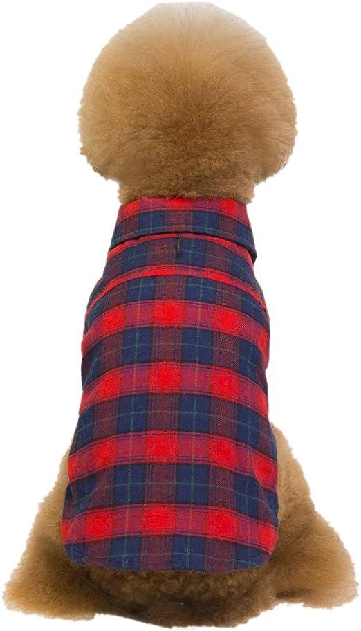 Ancdream Camisa de Mascota de Cuadros a Cuadros Camisa de Perro de Verano Camisas de Perros Casuales Ropa para Perros: Amazon.es: Productos para mascotas