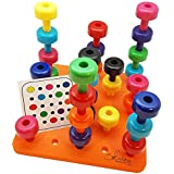 Skoolzy Toddler Learning Toys - Peg Board Montessori Toys for Toddlers Age 1 2 3 4 5 Year Olds - 32 pc Occupational Therapy Games for Kids - 9 Color Sorting Boys and Girls Toys.