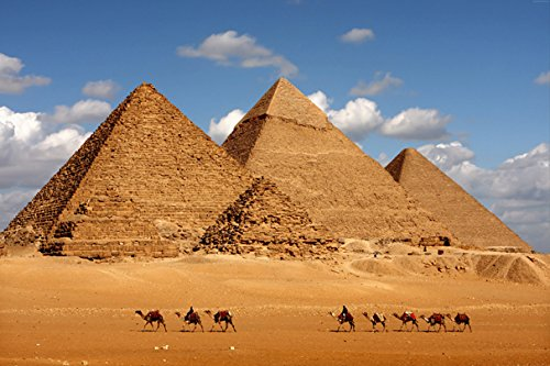 Pedecor poster Egypt Pyramid Camel (No.012101) - Poster Art Print On Canvas 90 cm x 60 cm (Roughly 36x24 Inch)
