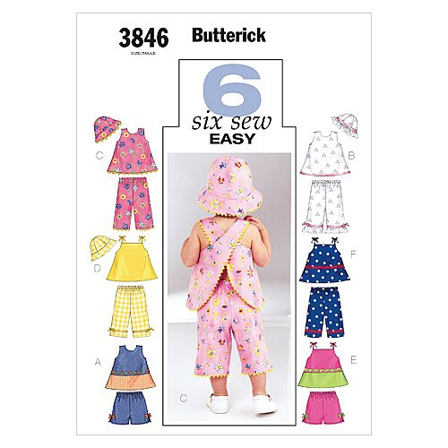 BUTTERICK PATTERNS B3846 Infants' Top, Shorts, Pants and Hat, Size NB-S-M – The Super Cheap