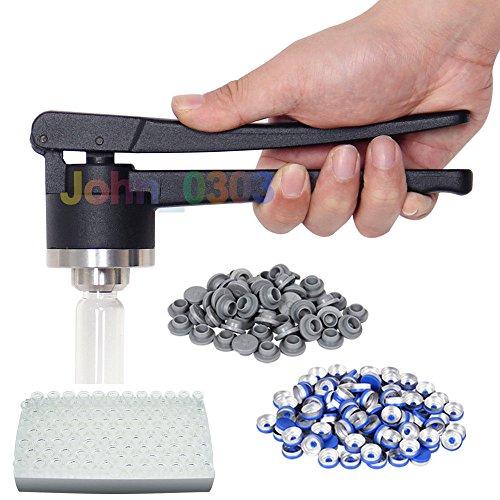 20 mm FLIP-OFF Vial Crimper Manual Sealer + 100 Glass Vials (10 ml) + 100 Rubber Stoppers + 100 Plastic-aluminum Caps