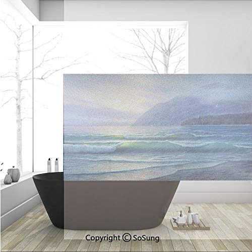 3D Decorative Privacy Window Films,Ocean Waves in the Morning an Sun Sky above Mountain Foggy Horizon Surreal Scenery,No-Glue Self Static Cling Glass film for Home Bedroom Bathroom Kitchen Office 36x2