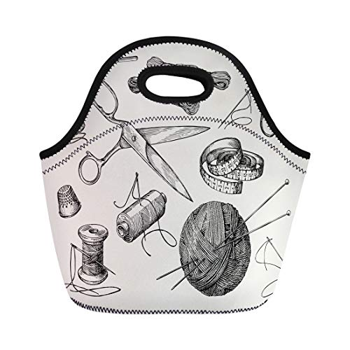 Semtomn Lunch Tote Bag Sewing Notions Thread Needle Scissors Ball of Yarn Knitting Reusable Neoprene Insulated Thermal Outdoor Picnic Lunchbox for Men Women ()