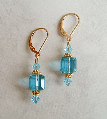 Aqua Blue Simulated Aquamarine Blue Square Cube Gold Filled Leverback Earrings Made With Swarovski Crystals Gift Idea ()