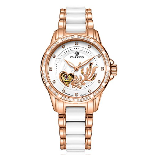 STARKING Ceramic Watch Self Winding Automatic Sapphire AL0219 Rose Gold Stainless Steel Luminous Hands Diamond Goldfish