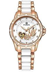STARKING Ceramic Watch Self Winding Automatic Sapphire AL0219 Rose Gold Stainless Steel Luminous Hands Diamond...