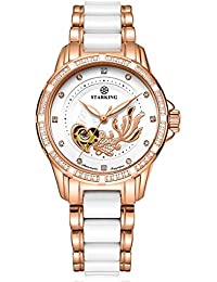Ceramic Watch Self Winding Automatic Sapphire AL0219 Rose Gold Stainless Steel Luminous Hands Diamond Goldfish