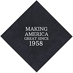 "60th Birthday Gifts Making America Great Since 1958 60th Birthday Party Supplies 50 Pack 5x5"" Party Napkins Cocktail Napkins Black"