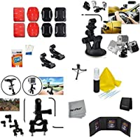 Xtech 23 Piece Accessory Kit for GoPro HERO4 Hero 4, GoPro Hero3+ Hero 3+, GoPro Hero3 Hero 3, GoPro Hero2 Hero 2, GoPro Surf Hero, GoPro Hero Naked, GoPro Hero 960 Digital Cameras Incldes: Car and Flat surface Suction Cup Mount + Bicycle Handlebar + Flat/ Curvy Adhesive Sticky Mounts + 2 J-Hooks + Mini Tripod + Memory Card Case + Deluxe Cleaning Kit and HeroFiber Cleaning Cloth