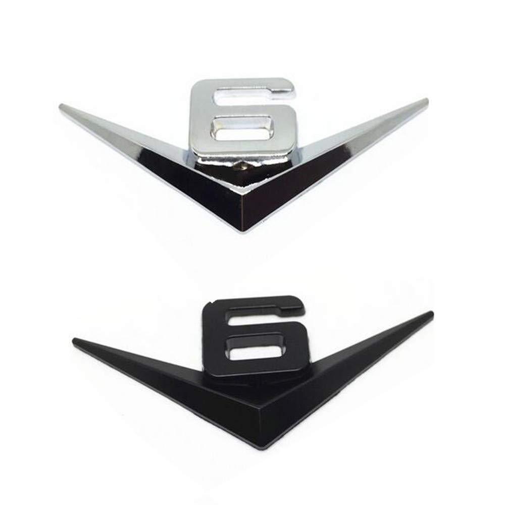 Auto Car Rear Black V6 Logo Chrome Metal Emblem Badge Decal Sticker Vintage