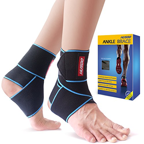 (Ankle Brace, Husoo Breathable Ankle Support, Compression Ankle Wrap for Sports Protect, Ankle Sprain, Plantar Fasciitis, One Size Fits All)