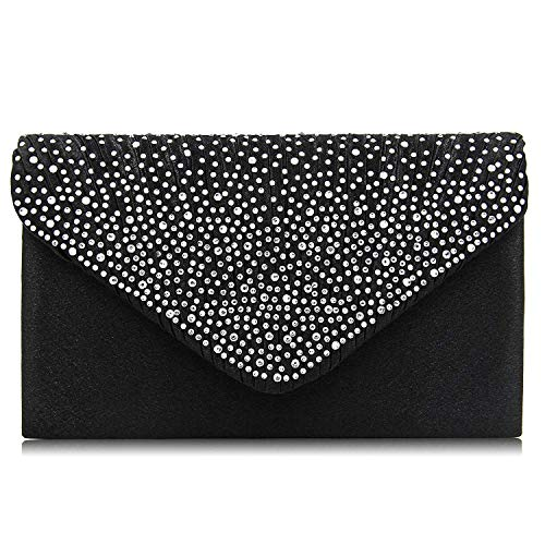 velope Rhinestone Frosted Clutches Party Bridal Clutch Purse (Black) ()