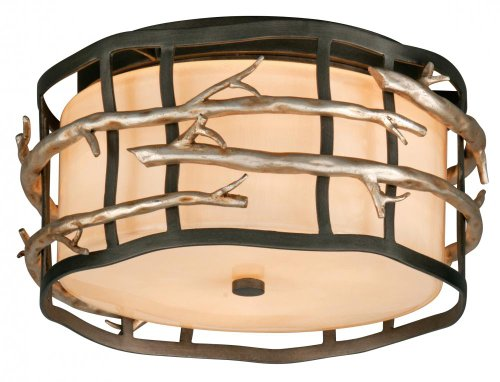 (Two Light Graphite And Silver Drum Shade Flush Mount)
