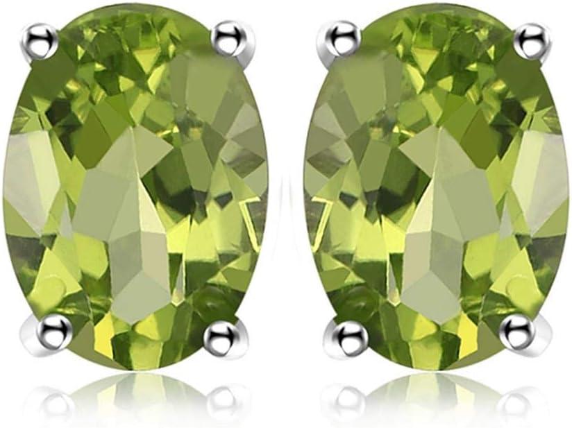 WANGXM Pendientes Plata de Ley 925 Pendientes de Piedra clásicos Citrino Natural Granate Amatista topacio Peridot Joyas de Piedras Preciosas