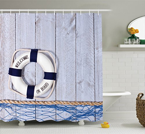 Nautical Curtain Ambesonne Polyester Bathroom