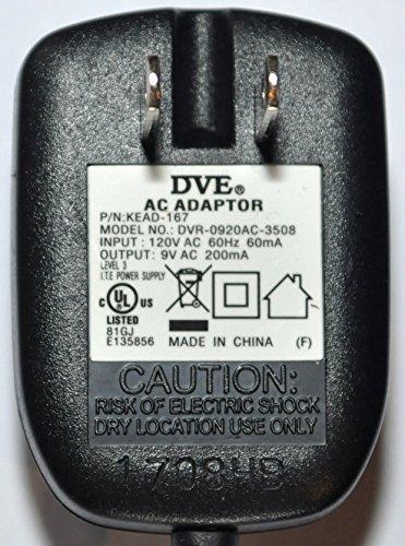 - Genuine DVE DVR-0920AC-3508 AC Adaptor Power Supply 9Vac~200mA