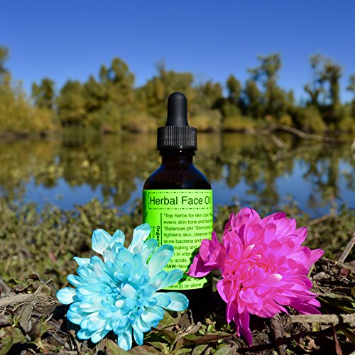 Herbal Face Oil-Raw, Organic, Vegan. Top skin care herbs, Squalane, Antioxidants, vitamins, minerals, long lasting face moisturizer.