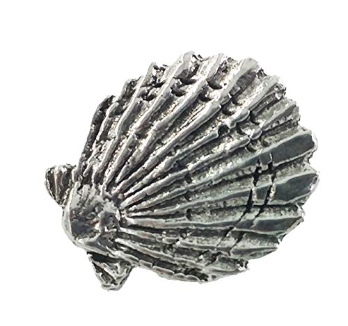 Scallop Shell Pewter Lapel Pin, Brooch, Jewelry, A163
