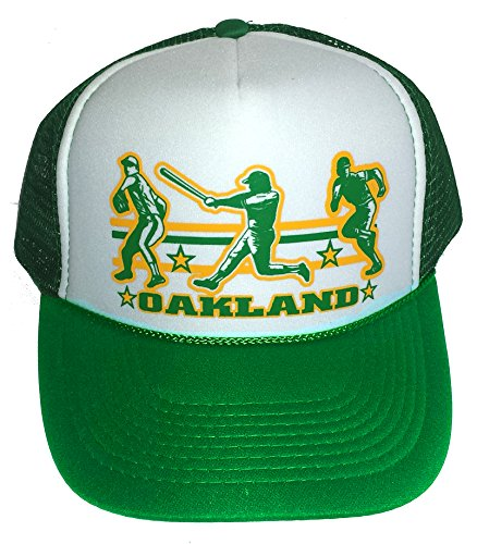 Amazon.com  Oakland Baseball Mesh Snapback Trucker Hat Cap Green  Clothing 82080e7a278