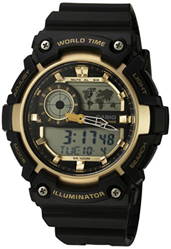 (Casio Men's 'Super Illuminator' Quartz Resin Casual Watch, Color:Black (Model: AEQ-200W-9AVCF))