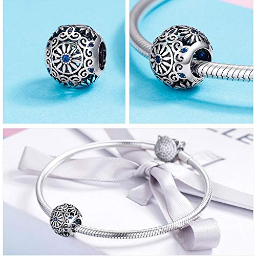 The Kiss Vintage Flower Round 925 Sterling Silver Bead Fits European Charm Bracelet
