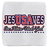 13 Inch 6-Sided Cube Ottoman USA Jesus Saves Nation Under God