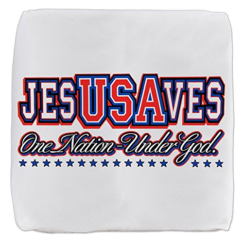 18 Inch 6-Sided Cube Ottoman USA Jesus Saves Nation Under God by Royal Lion