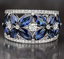 Royal Blue Saphire Diamond Anniversary Vintage Ring