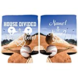 Custom Baseball Wedding Can Cooler - House Divided Hearts United (250)