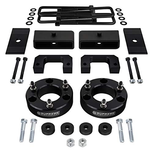 """Supreme Suspensions - Full Lift Kit for 2007-2018 Chevrolet Silverado 1500 3.5"""" Front Lift Strut Spacers + 2"""" Rear Lift Blocks + Square Bend U-Bolts + Differential Drop 4WD + Axle Alignment Shims"""