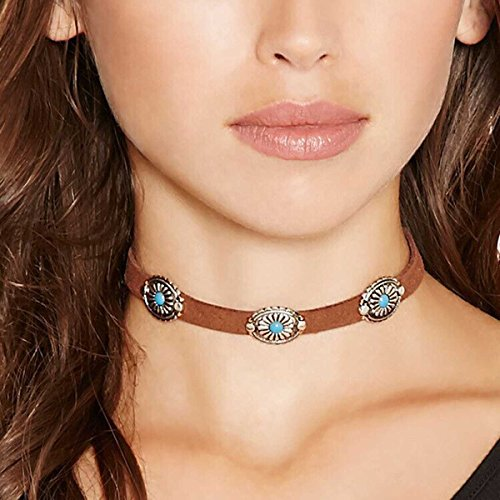 urquoise Leather Choker Necklace Suede Choker Necklace Jewelry for Women and Girls Boho Style ()